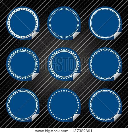 Plain Blue Stickers with tab, different border style