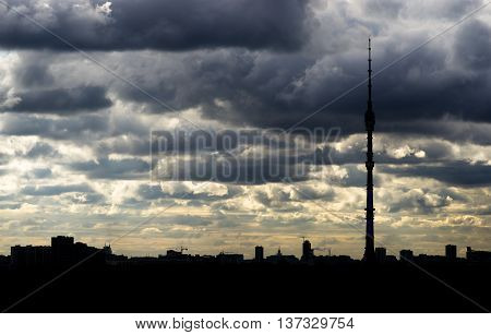 Right aligned Moscow television tower silhouette background