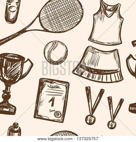Hand drawn Tennis game seamless pattern Vector illustration equipment Sport symbols Racket tennis ball tennis dress