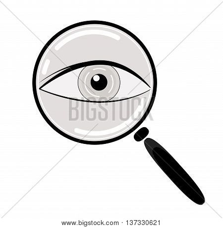Eye in Magnification . Ophthalmic diagnostic, information search icon. Vector