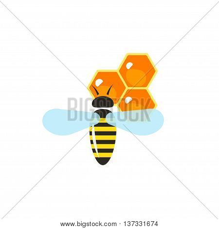 Flying bee pollinating wax honeycombs vector illustration in cartoon flat style, apiary honey production concept, icon label, sticker, logo idea, modern design symbol isolated on white
