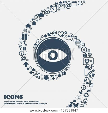 Eye, Publish Content, Sixth Sense, Intuition Icon Sign In The Center. Around The Many Beautiful Symb