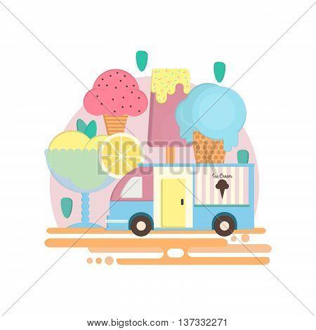 Ice cream bar in flat style. Ice cream van in flat style. Vector illustration