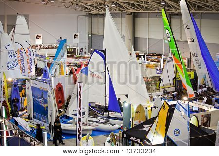 Small Sailboats At Big Blue Sea Expo,Rome 2011