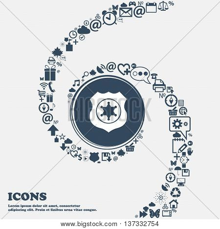 Sheriff, Star Sign Icon In The Center. Around The Many Beautiful Symbols Twisted In A Spiral. You Ca