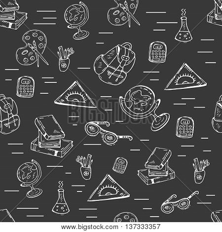 School class pattern with school supplies. Vector hand-drawn doodle illustration on black background for schools university kindergarden and classrooms.