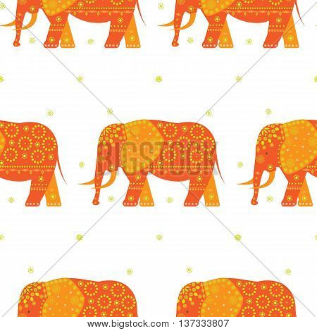 Abstract Indian elephant. Seamless pattern with elephants on the white background.