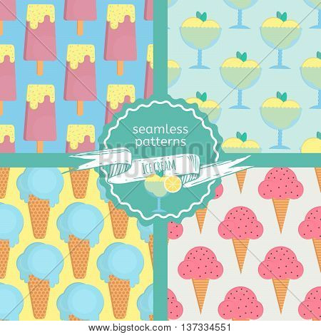 Ice cream seamless patterns set in flat style. Patterns with eskimo ice cream cone and sorbet. Vector illustration for print textile and menus.