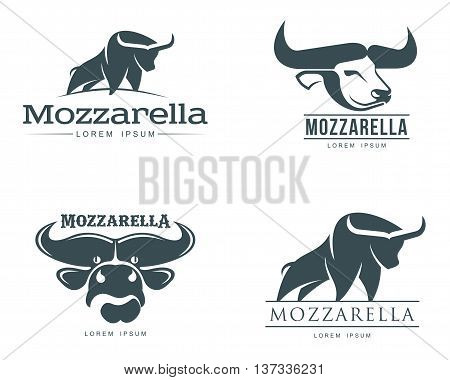 set of logos with buffalo mozzarella cheese, simple illustration isolated on a white background, four of the logo for the Italian buffalo mozzarella, brand logo for dairy mozzarella