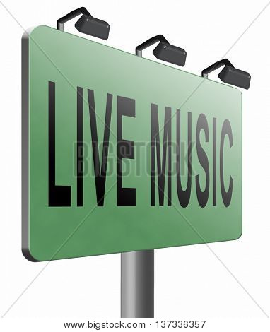 music live stream radio music or listen live on air broadcasting songs program road sign, 3D illustration, isolated, on white