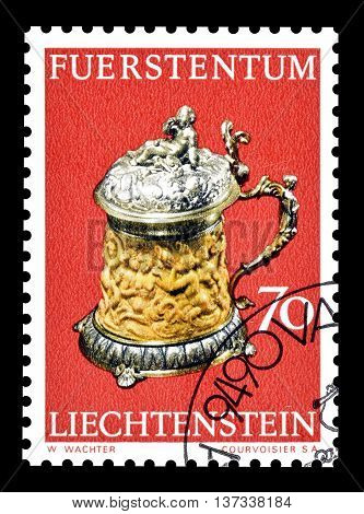 LIECHTENSTEIN - CIRCA 1973 : Cancelled postage stamp printed by Liechtenstein, that shows Ivory bumper.