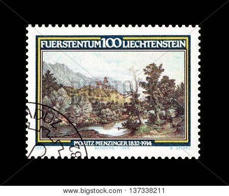 LIECHTENSTEIN - CIRCA 1982 : Cancelled postage stamp printed by Liechtenstein, that shows Moritz Menzinger.
