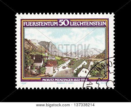 LIECHTENSTEIN - CIRCA 1982 : Cancelled postage stamp printed by Liechtenstein, that shows Moritz Menzinger.