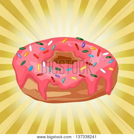 donut on a background with rays, Donut with pink frosting on a yellow background with rays