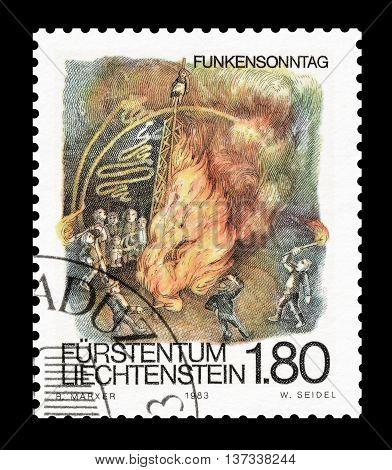 LIECHTENSTEIN - CIRCA 1983 : Cancelled postage stamp printed by Liechtenstein, that shows folklore.