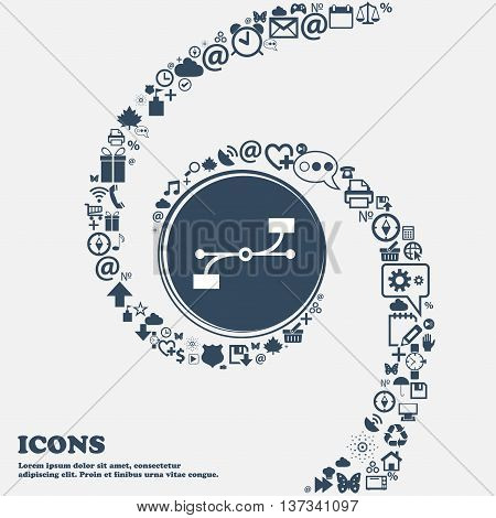 Bezier Curve Icon Sign In The Center. Around The Many Beautiful Symbols Twisted In A Spiral. You Can