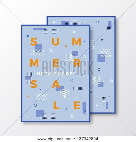 Summer Sale Poster, Card or Flyer Template. Modern Abstract Flat Swiss Style Background with Decorative Elements and Minimal Typography. Orange, Blue Colors. Soft Shadows. Isolated.