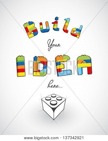 Build your idea here slogan template. Vector art