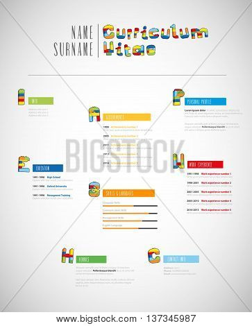 Creative brick based curriculum vitae template. Vector art