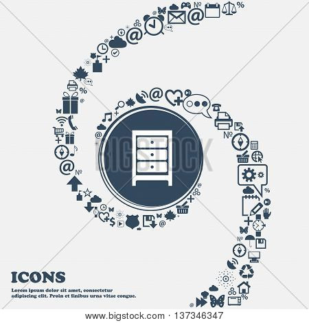 Nightstand Icon Sign In The Center. Around The Many Beautiful Symbols Twisted In A Spiral. You Can U