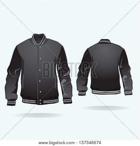 Varsity jacket template with buttons in black. Vector.