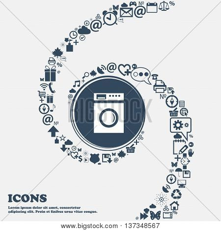 Washing Machine Icon Sign In The Center. Around The Many Beautiful Symbols Twisted In A Spiral. You