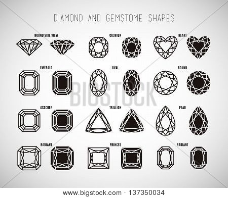 Diamond and gemstone shape set. Vector art