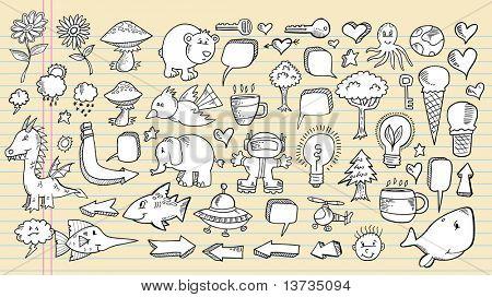 Notebook Doodle fala bolha Design elementos vetor Mega conjunto de ilustração