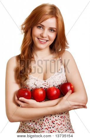 Young happy smiling woman with three red apple isolated on white