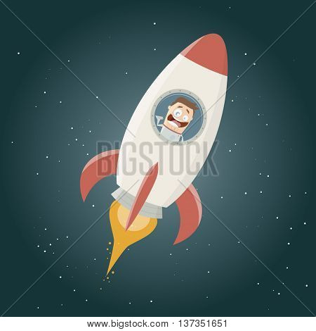 funny astronaut flying in a space rocket