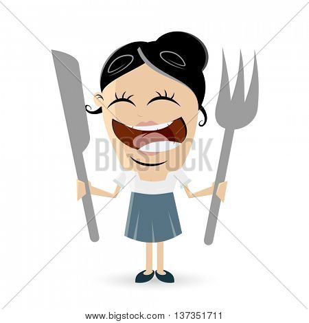 funny comic woman with cutlery