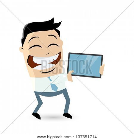 funny businessman showing something important on the tablet