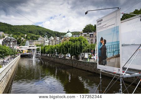 Karlovy Vary, Czech Republic - July 3: People Walk On Streets During Karlovy Vary International Film