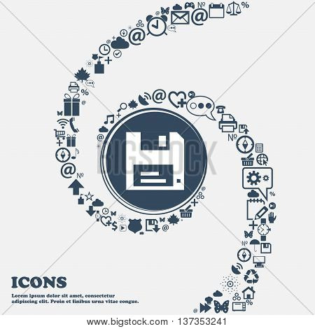 Floppy Icon Sign In The Center. Around The Many Beautiful Symbols Twisted In A Spiral. You Can Use E