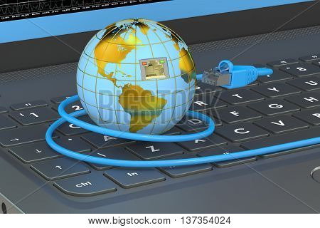 global network connection concept on laptop. 3D rendering