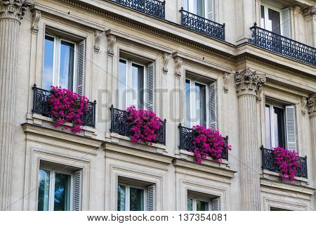Old large frontage with red flowers in window boxes. Paris France Europe.