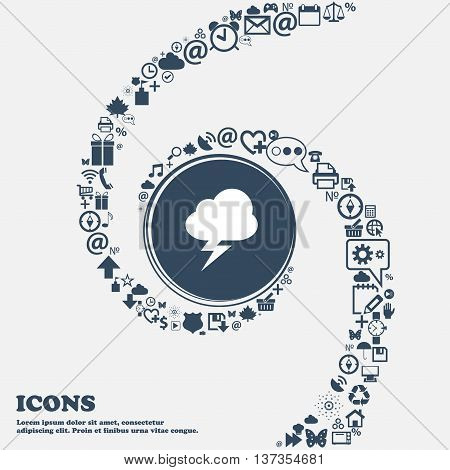 Storm Icon Sign In The Center. Around The Many Beautiful Symbols Twisted In A Spiral. You Can Use Ea