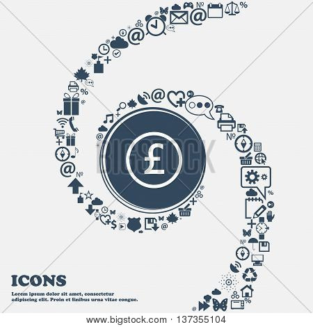 Pound Sterling Icon Sign In The Center. Around The Many Beautiful Symbols Twisted In A Spiral. You C