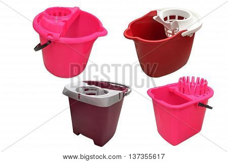 red plastic bins isolated on white background