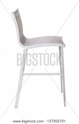 white bar stool with back isolated on white background
