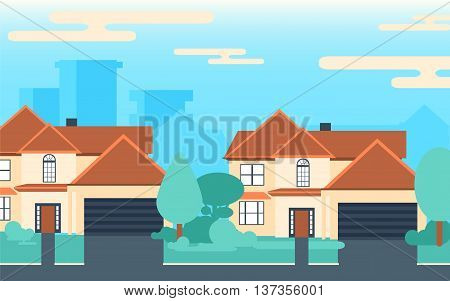 Background of suburban houses. City vector illustration with two houses