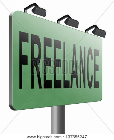 Freelance or being self-employed and hired to work for different companies. Outsourcing job and hiring external worker, 3D illustration isolated on white.