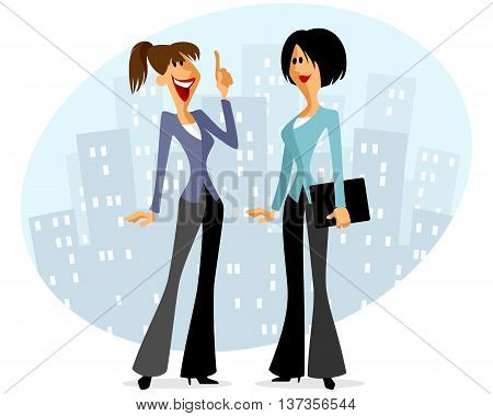 Vector illustration of a two businesswomen speaking