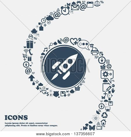 Rocket Icon Sign In The Center. Around The Many Beautiful Symbols Twisted In A Spiral. You Can Use E