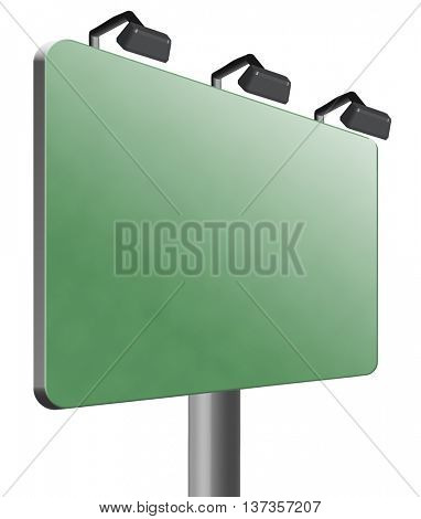 blank road sign billboard with copy space empty signpost with room for text 3D illustration, isolated, on white