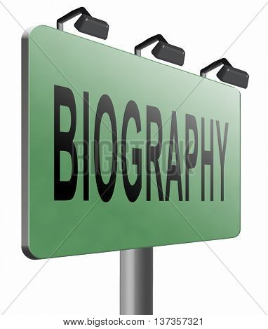 Bio button or biography leading to the story of your life about sign my life story resume 3D illustration, isolated, on white