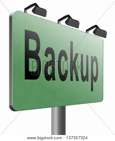 backup data document or file online on copy in the cloud on a harddrive disk on a computer or server for file security 3D illustration, isolated, on white