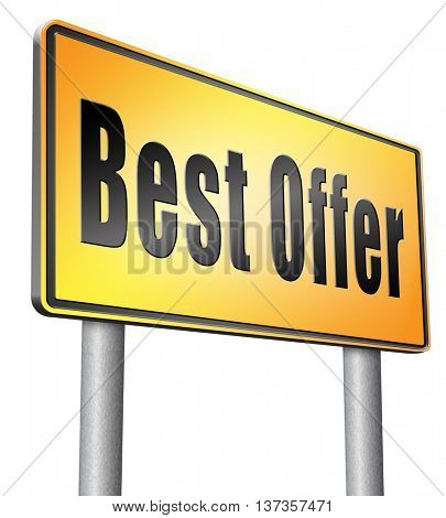best offer, lowest price and best value for the money. Web shop or online promotion for internet webshop, road sign billboard. 3D illustration, isolated,on white