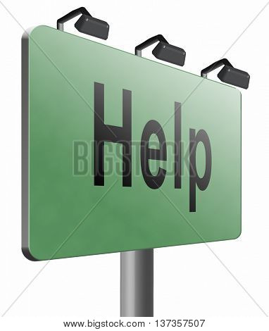 help search find assistance and helping hand, support or help desk online support help road sign, billboard, 3D illustration, isolated, on white.