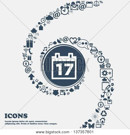Calendar, Date Or Event Reminder Icon Sign In The Center. Around The Many Beautiful Symbols Twisted